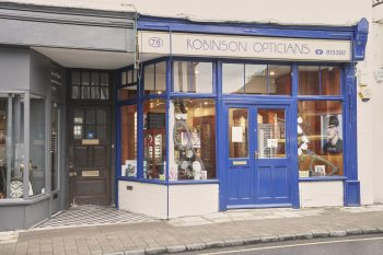Robinson opticians shop front from Steyning High Street